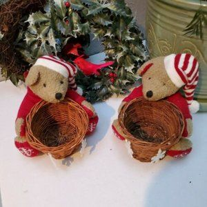 Christmas Decor Set Of 2 Vintage Bears